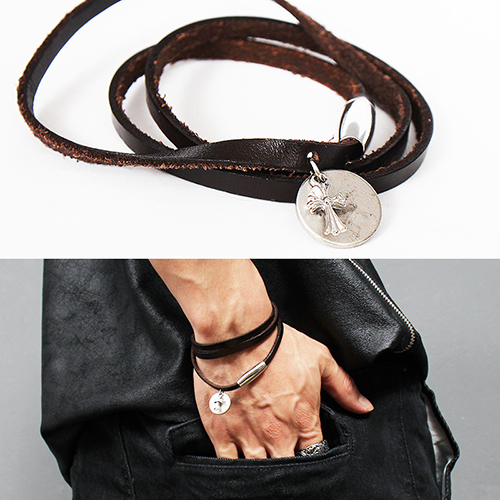 Leather Strap Steel Cross Pendant Bracelet 168