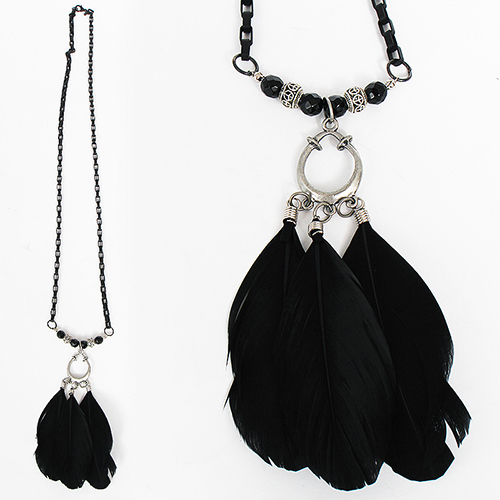 Avant garde Gothic Feather Beads Chain Necklace 38