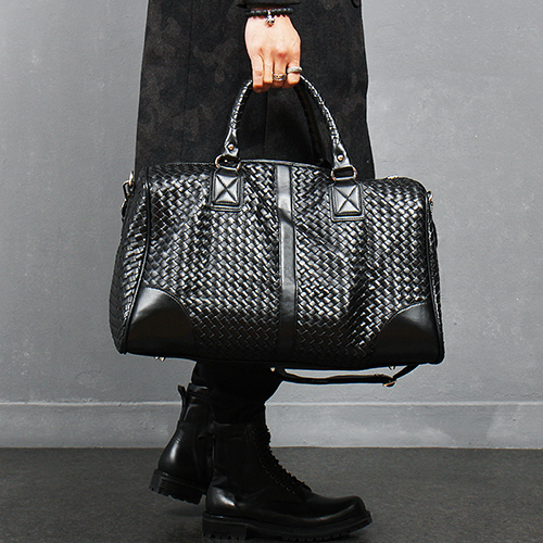 Black Weave Pattern Faux Leather Travel Duffel Bag