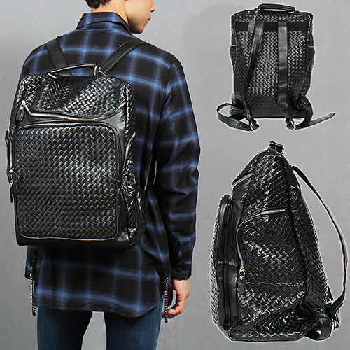 Black Leather Weave Pattern Zip Pocket Backpack 8321A