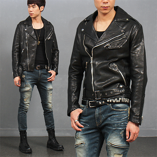 Noched Lapel Collar Diagonal Zipper Waist Buckle Pocket Leather Jacket