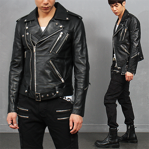 Diagonal Double Zipper Notched Lapel Collar Lambskin Leather Rider Jacket