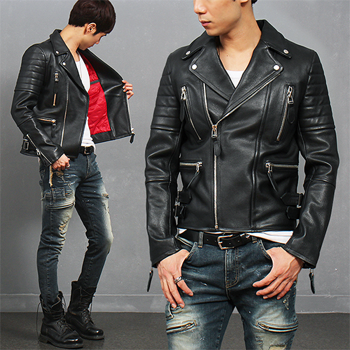 Notched Lapel Collar Zipper Pocket Lambskin Leather Rider Jacket