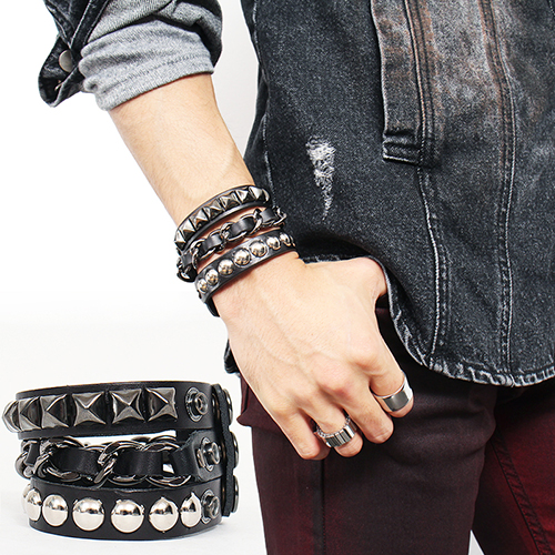3 Line Studs Chain Leather Bracelet 115