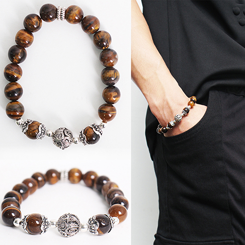 Brown Black Beaded 3D Steel Beads Bracelet 62