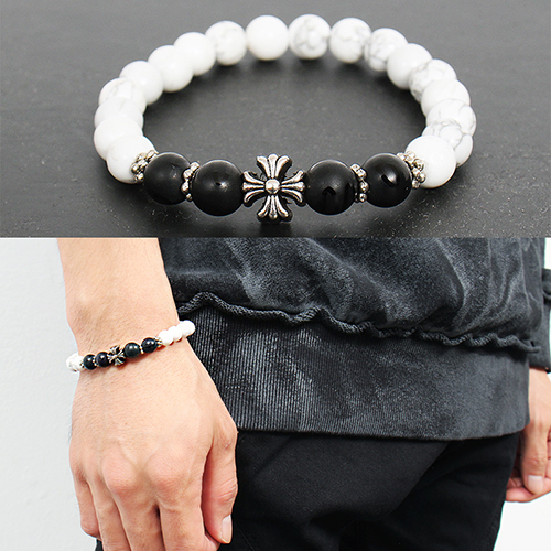 Steel Bead Cross Black White Beads Handmade Bracelet 112