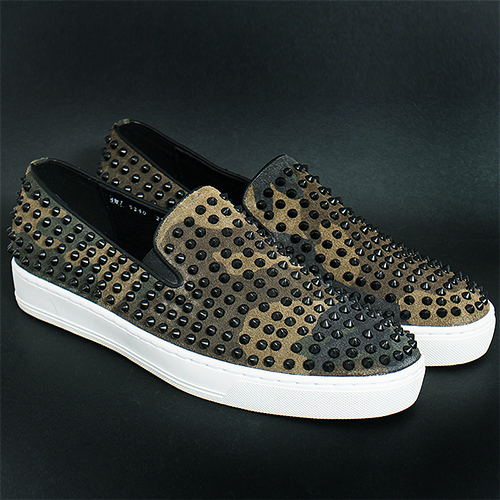 Handmade Camouflage Suede Leather Black Studs Slip On Sneakers 5340