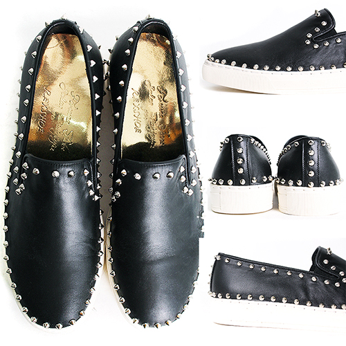 Handmade Studs Black Leather Slip On Loafers 5339