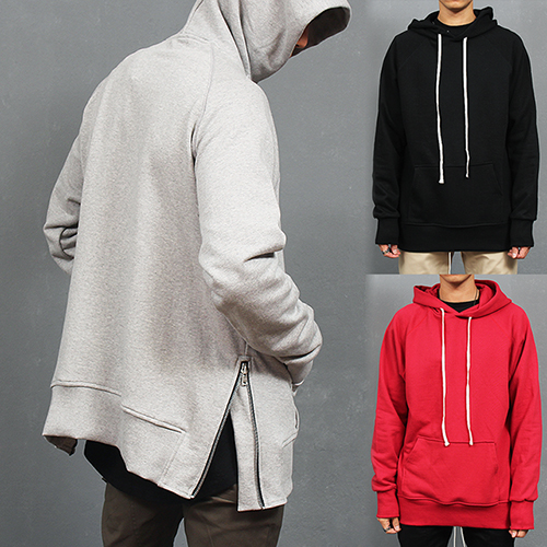 Big Pocket Side Zipper Hem Hooded Sweatshirt