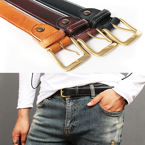 Contrast Stitch Buckle Color Leather Belt