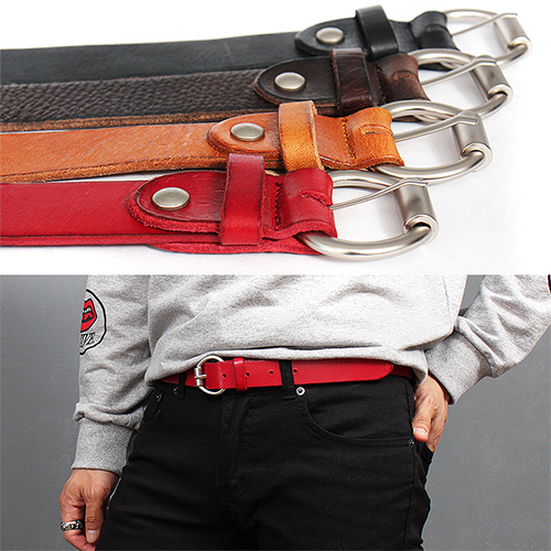 Round Silver Tone Buckle Color Leather Belt