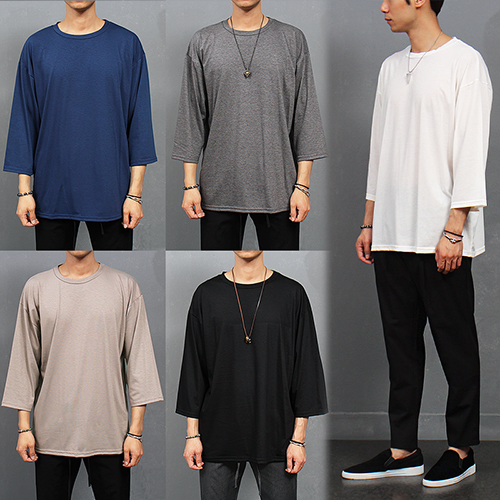 Normcore Loose Fit 4/5 Sleeve Draping T Shirt