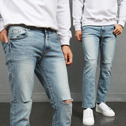Knee Cutting Raw Hem Faded Blue Slim Jeans 818