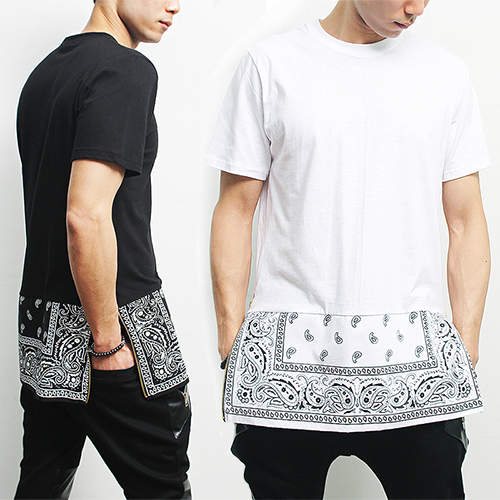 Short Sleeve Bandana Paisley Long Zipper Tee
