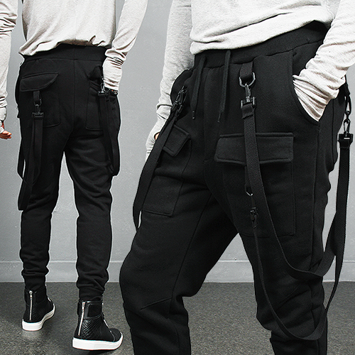 Buckle Strap Draping Cargo Pocket Jogger Sweatpants