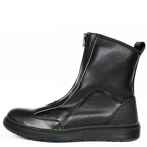 Front Zip Up Black Leather Sneakerboots 118