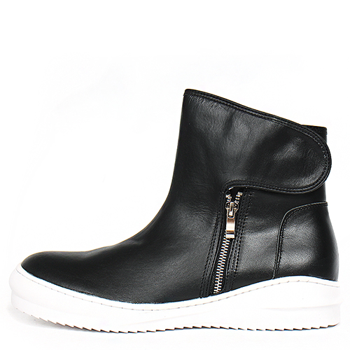 Side Zip Up Velcro Cover Black Leather Sneakerboots 120