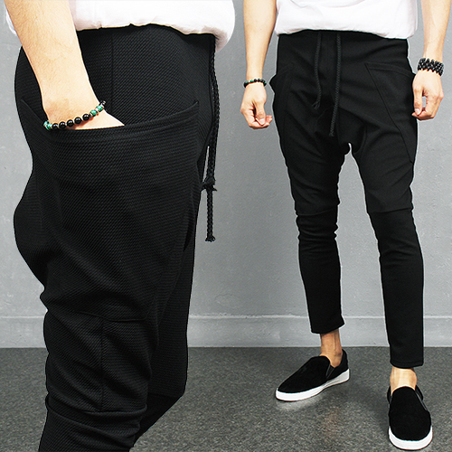 Drop Crotch Side Pocket Stretchable Slim Baggy Sweatpants