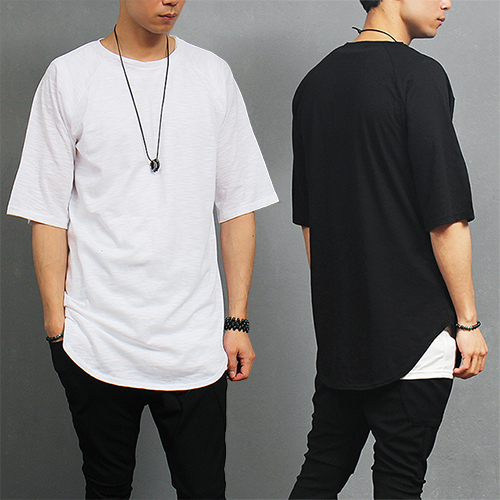 Loose Fit Cotton Shirttail Long Hem Short Sleeve T Shirt