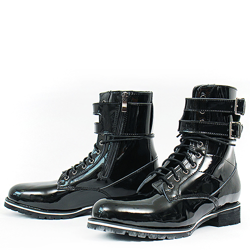 High Top Double Buckle Black Patent Boots XC006