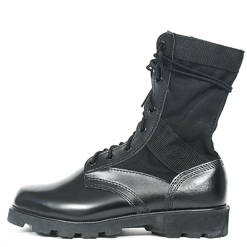 Black Military Leather Zipper High Top Boots