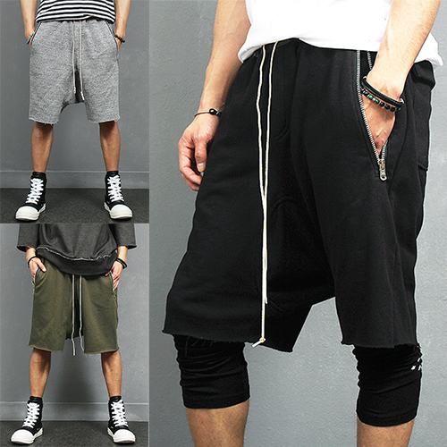 Drop Crotch Zipper Pocket Vintage Cut Short Sweatpants