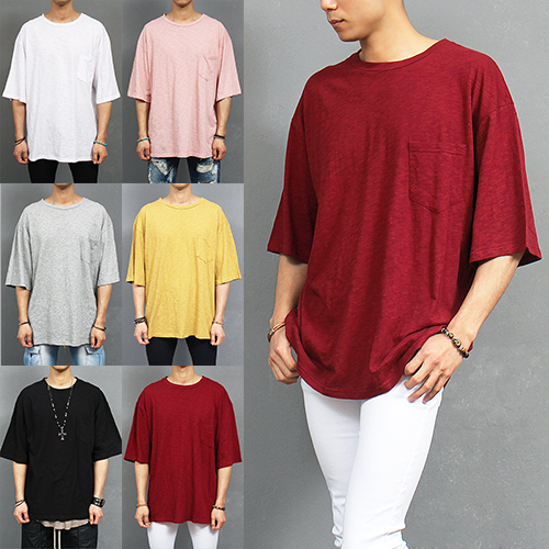 Loose Fit Basic Slub Cotton Pocket Half Sleeve T Shirt