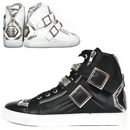 Double Zipper Buckle High Top Leather Sneakers 015