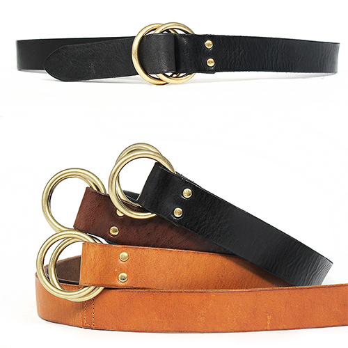 Gold Tone Double Ring Buckle Slim Leather Belt