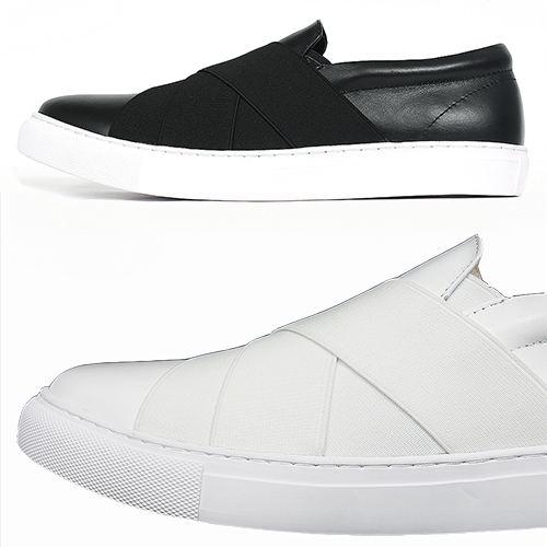 Cross Banding Slip On Leather Sneakers 017