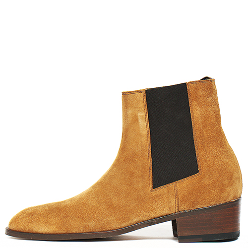 Handmade Light Brown Suede Leather High Top Chelsea Boots 5407