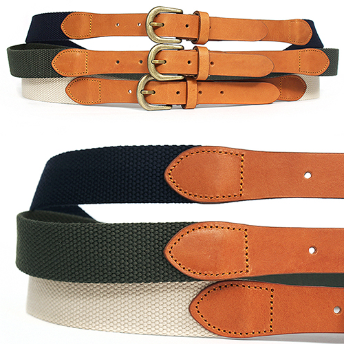 Webbing Leather Combi Adustable Belt