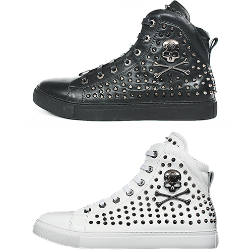 Hardcore Skull Conic Studded Leather High Top Sneakers 010