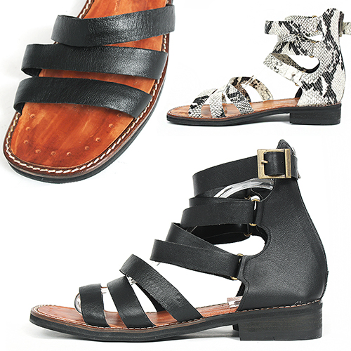 Handmade Leather Gladiator Black/White Snake Pattern Sandals 5145
