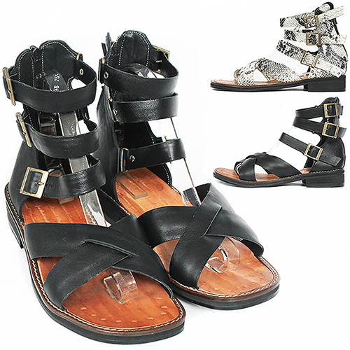 Handmade Leather Gladiator Black/White Snake Pattern Sandals 5148