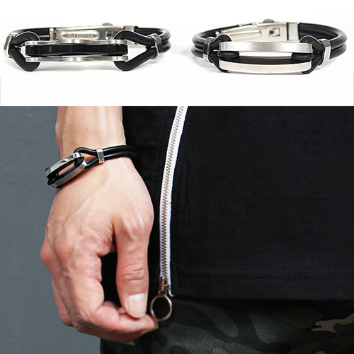 Stainless Steel Panel Double Rubber Strap Bracelet 193