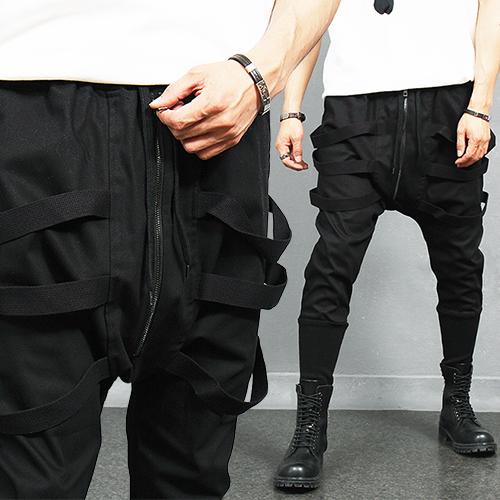 Avant garde Triple Strap Long Ribbed Hem Baggy Sweatpants
