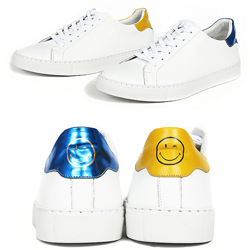 Handmade White Leather Smile Logo Sneakers 5625