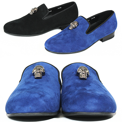Handmade Suede Leather Skull Logo Studed Slip on Loafers 5621