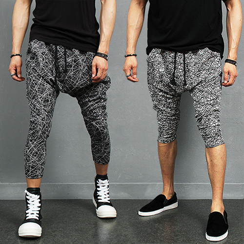 Seamless Random Pattern Drop Crotch 4/5 Baggy Sweatpants