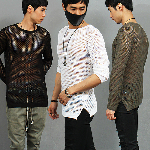 Sexy Guy Slim Fit See Through Mesh Knit Jumper