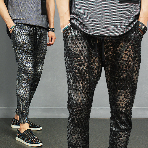 Embossed Crocodile Skin Pattern Silver Paint Zipper Baggy Sweatpants