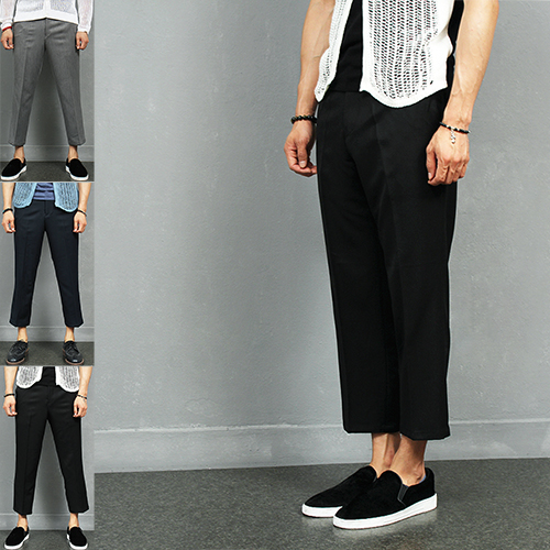 Elastic Waistband 4/5 Cut Off Wide Slacks Pants