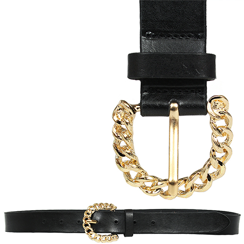Gold Curved Chain Buckle Leather Belt