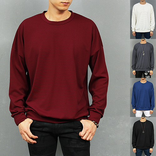 Loose Fit Color Corduroy Stretchable Sweatshirt
