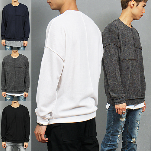 Loose Fit Corduroy Vintage Trim Stretchable Sweatshirt