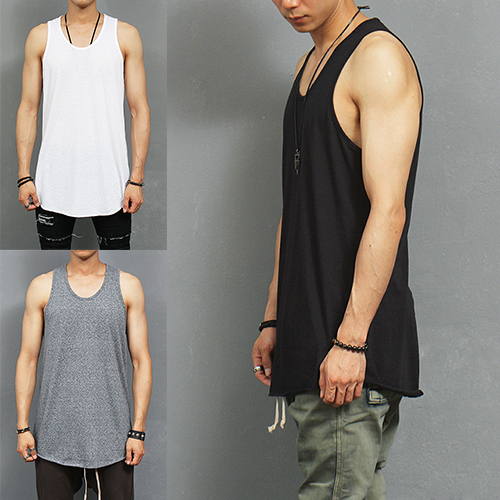 Street Fashion Over Long Hem Sleeveless Tank Top