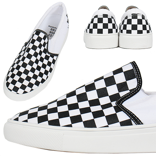Black White Chess Pattern Slip On Sneakers