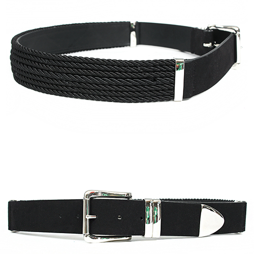 Multi Rope Styling Silver Buckle Black Leather Belt