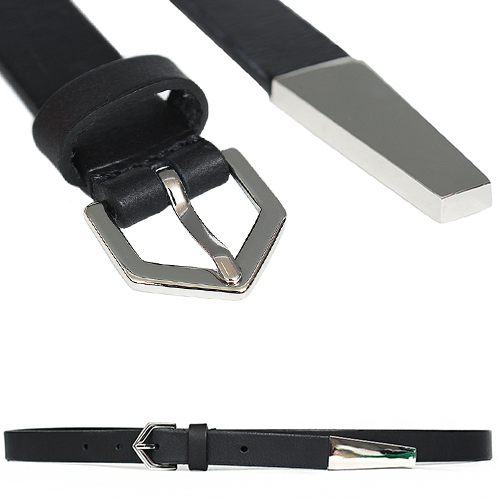 Tappered Steel Tip Slim Black Leather Belt